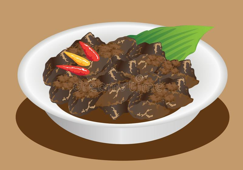 Vektor - Rendang Padang, indonesiska traditionella Stew Beef royaltyfri fotografi