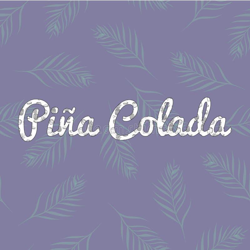 Vektor Retro Pina Colada Pattern Letters på sömlös modelldesign för palmblad stock illustrationer