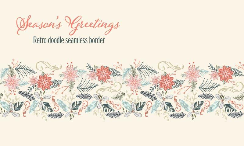 Vektor-Retro- Weihnachtsnahtlose Gekritzelgrenze mit Poinsettia und Immergrün Ferienzeit-Gekritzelillustrationsentwurf lizenzfreie abbildung