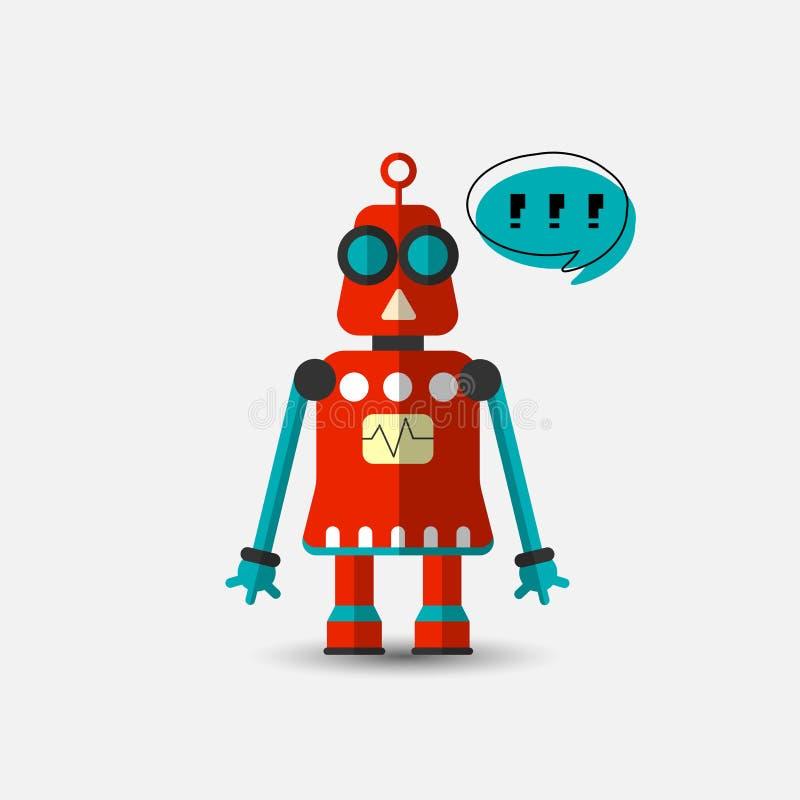 Vektor-Roboterikone der Retro- Weinlese lustige in der flachen Art lokalisiert auf grauem Hintergrund Vektorweinleseillustration  stock abbildung
