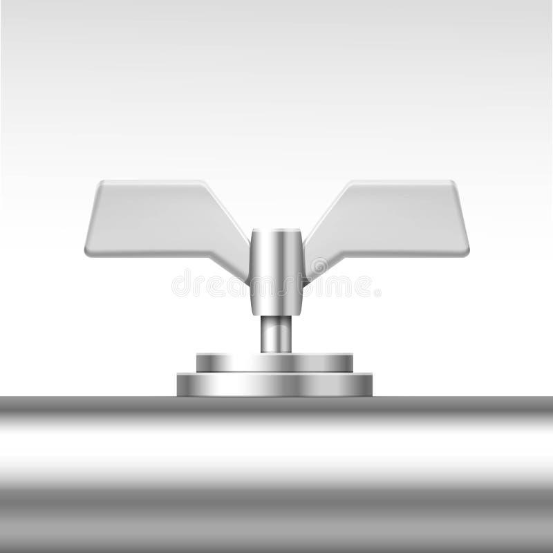 Vektor-Rohr-Ventil lokalisiert auf Weiß stock abbildung