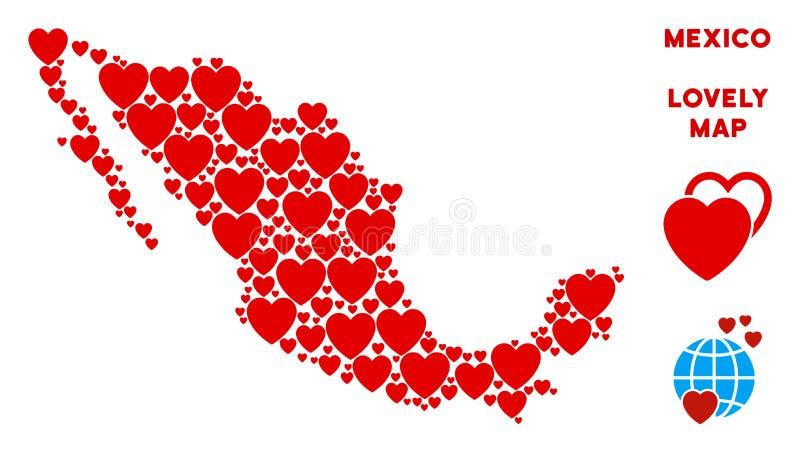 Vektor-romantisches Mexiko-Karten-Mosaik von Herzen stock abbildung