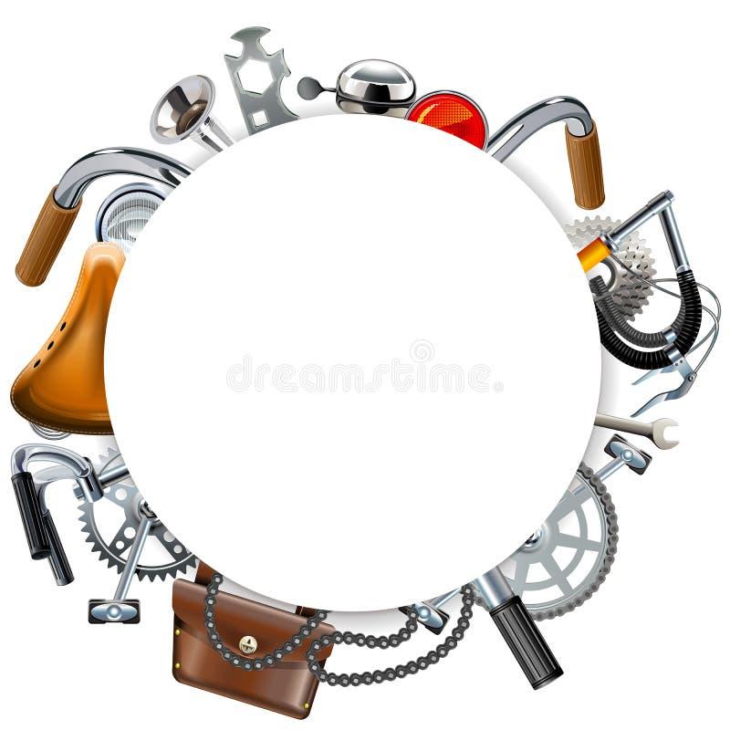 Vektor-Ronde-Rahmen mit Fahrrad-Reserven lizenzfreie abbildung