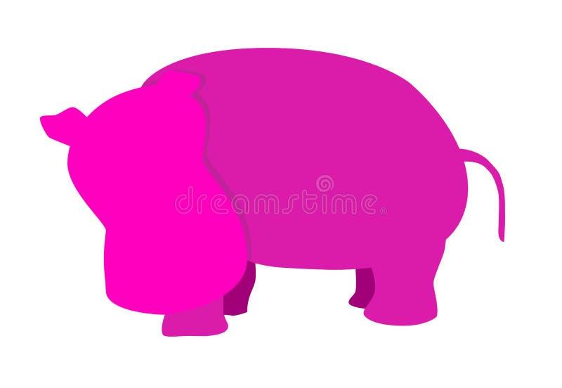 Vektor-rosa Flusspferd [UHD] lizenzfreies stockbild