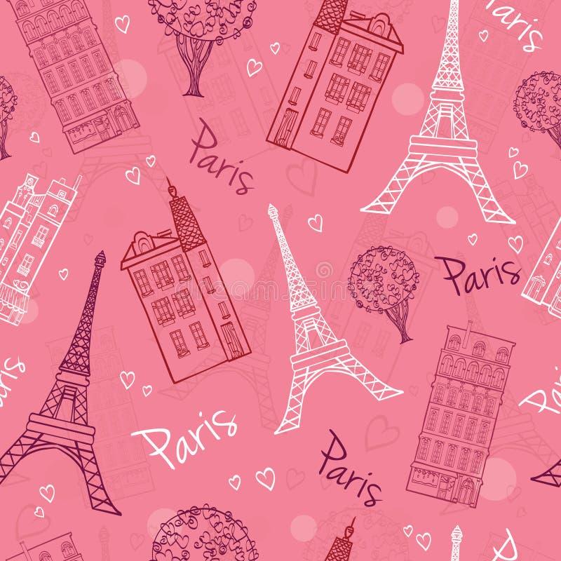 Vektor-rosa romantische Paris-Straßen nahtlos stock abbildung