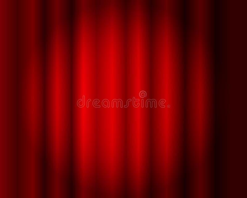 Vektor-roter Vorhang-Hintergrund, Stadium Illusmination, Theater stock abbildung
