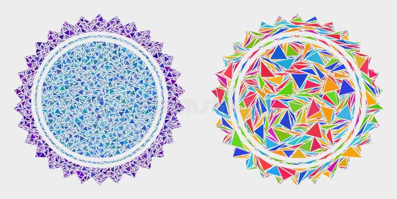 Vektor-runde Siegelstempel-Mosaik-Ikone von Dreiecken stock abbildung