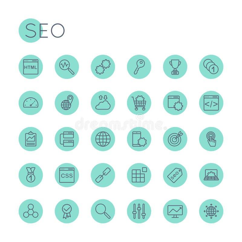Vektor runder SEO Icons lizenzfreie abbildung