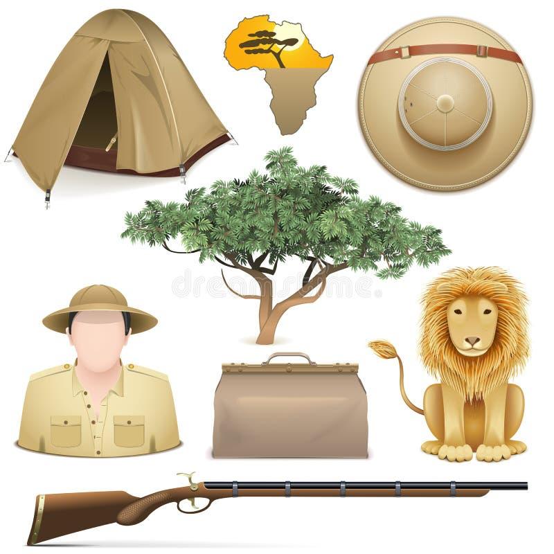 Vektor Safari Icons Set stock illustrationer