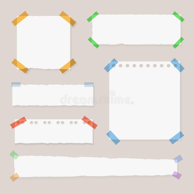 Vektor-Sammlung heftige Papiere, Notiz-Aufkleber auf transparentem Hintergrund, aufgenommene Seiten stock abbildung