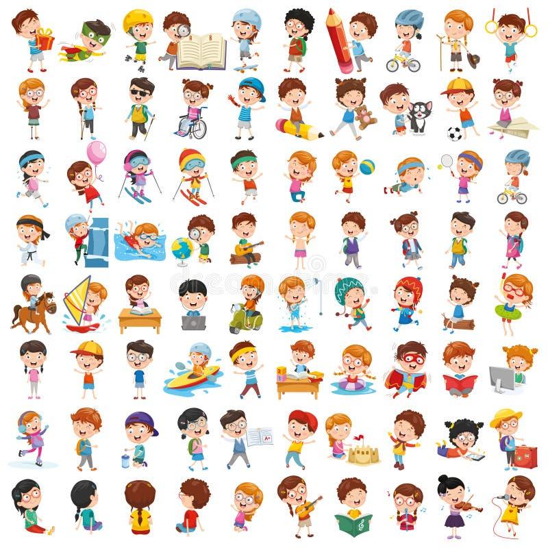 Vektor-Sammlung Karikatur-Kinder stock abbildung