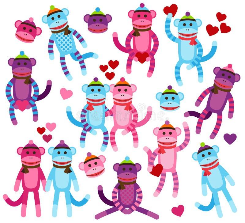 Vektor-Sammlung Valentinstag-themenorientierte Socken-Affen stock abbildung