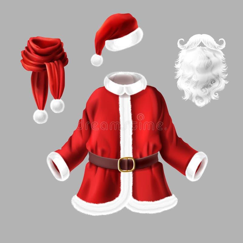 Vektor-Santa Claus-Kostüm, Kostüm für Partei stock abbildung