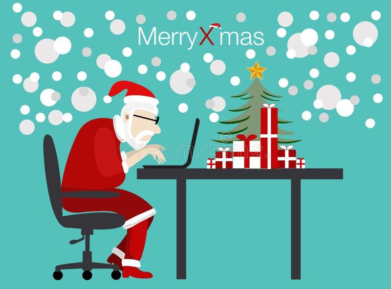 Vektor santa som arbetar på juldag stock illustrationer