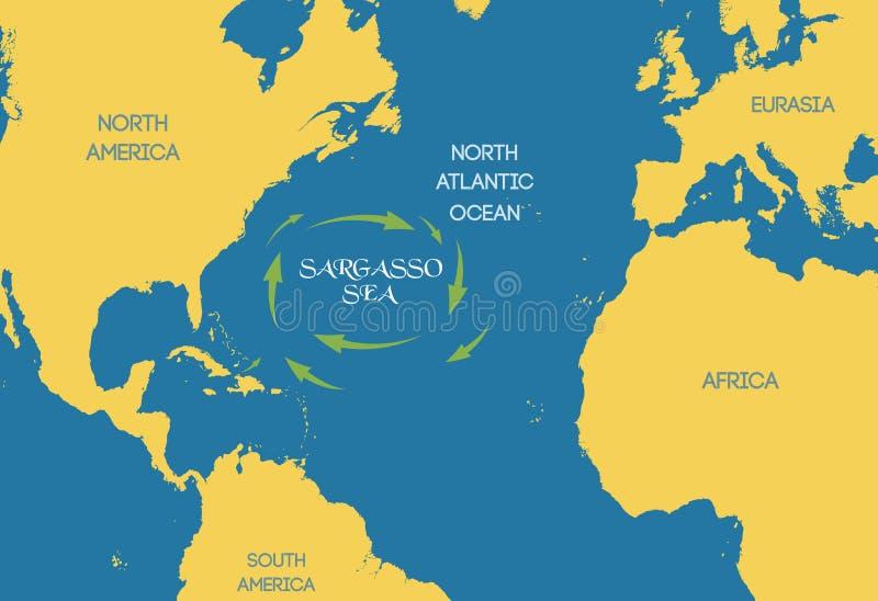 vektor Sargassohavet på världskartan vektor illustrationer