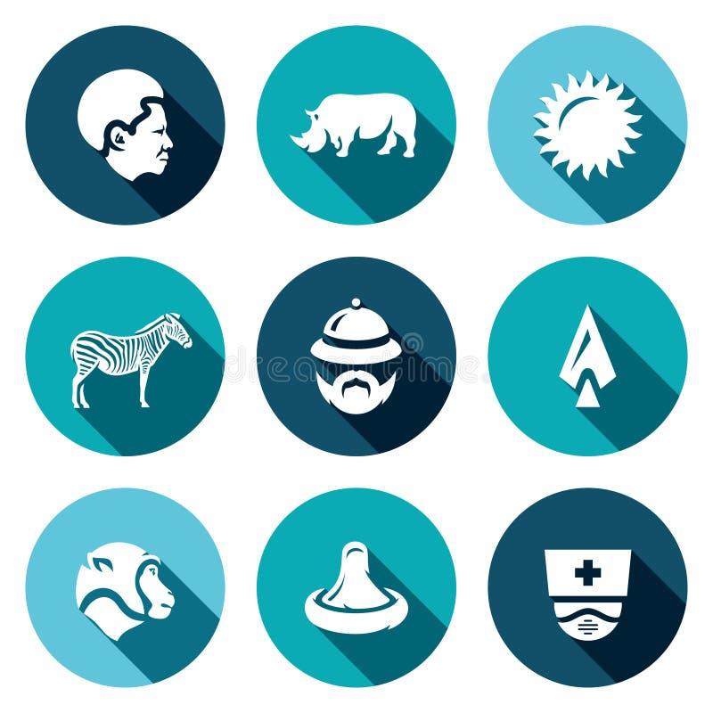Vektor-Satz Afrika-Ikonen Afrikaner, Tier, Hitze, Safari, Reise, Jagd, Virus, Medizin stock abbildung