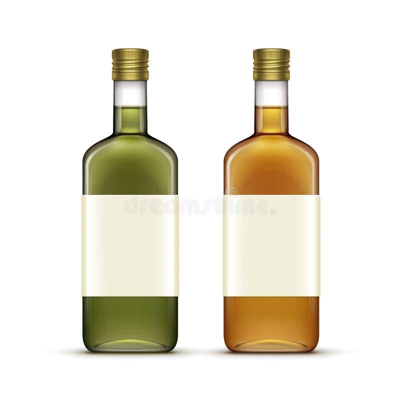 Vektor-Satz Alkohol-Getränkegetränk-Whisky-Öl-Glasflaschen vektor abbildung