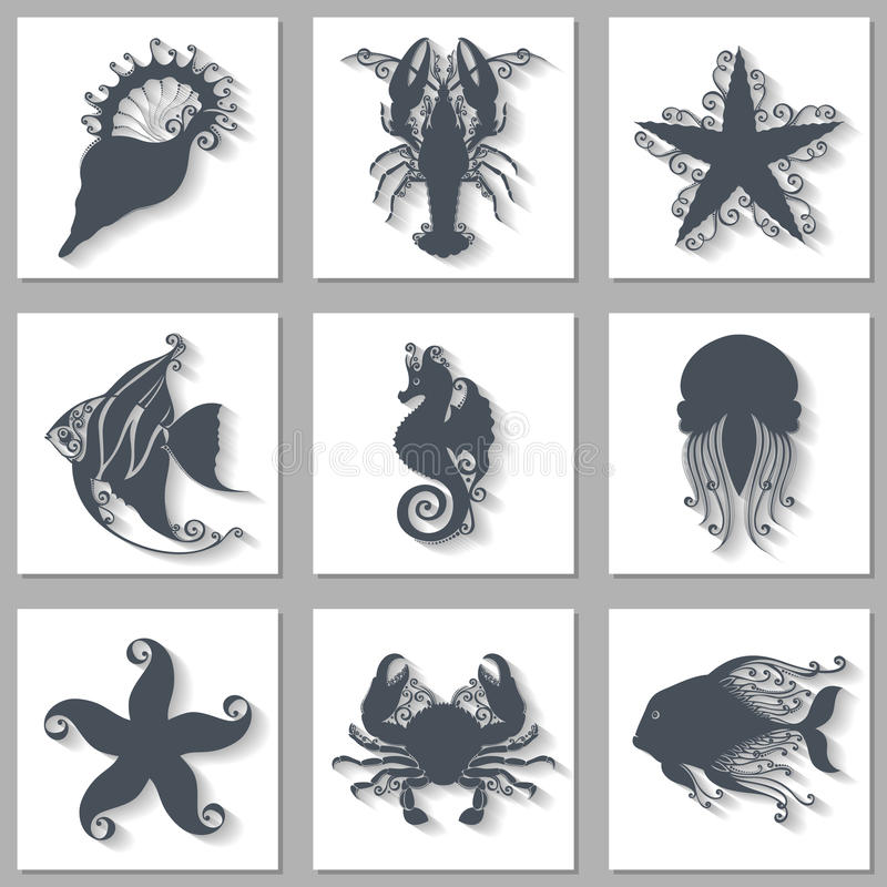 Vektor-Satz aufwändige Seetier-Ikonen mit langem Schatten stock abbildung