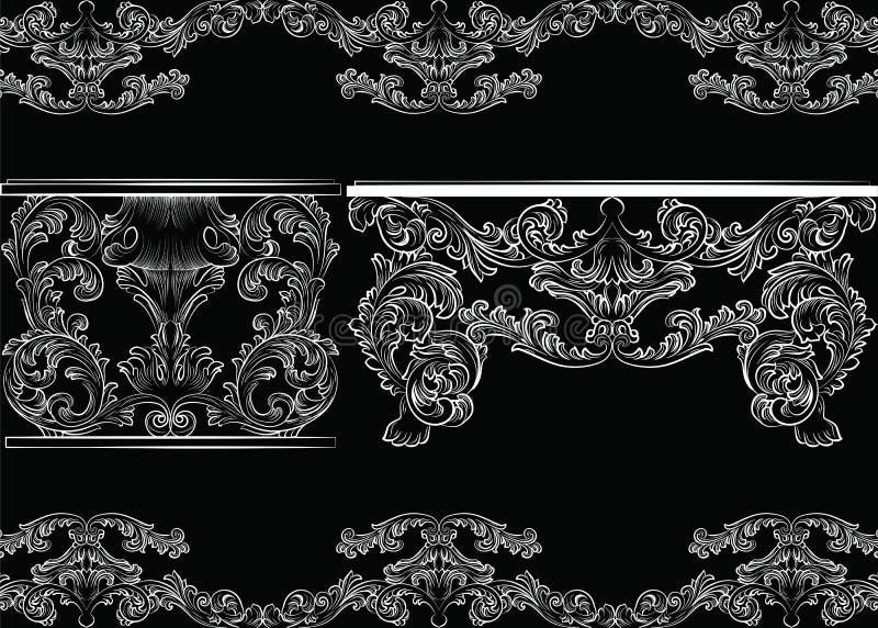 Vektor-Satz barocke Weinlese-Möbel und Rahmen stock abbildung
