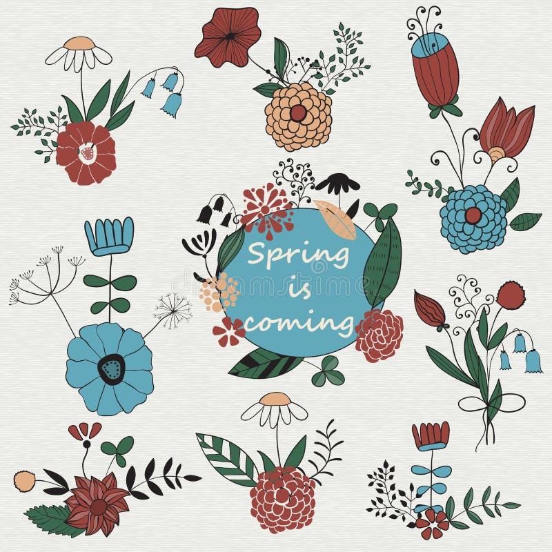 Vektor-Satz Blumensträuße lizenzfreie abbildung