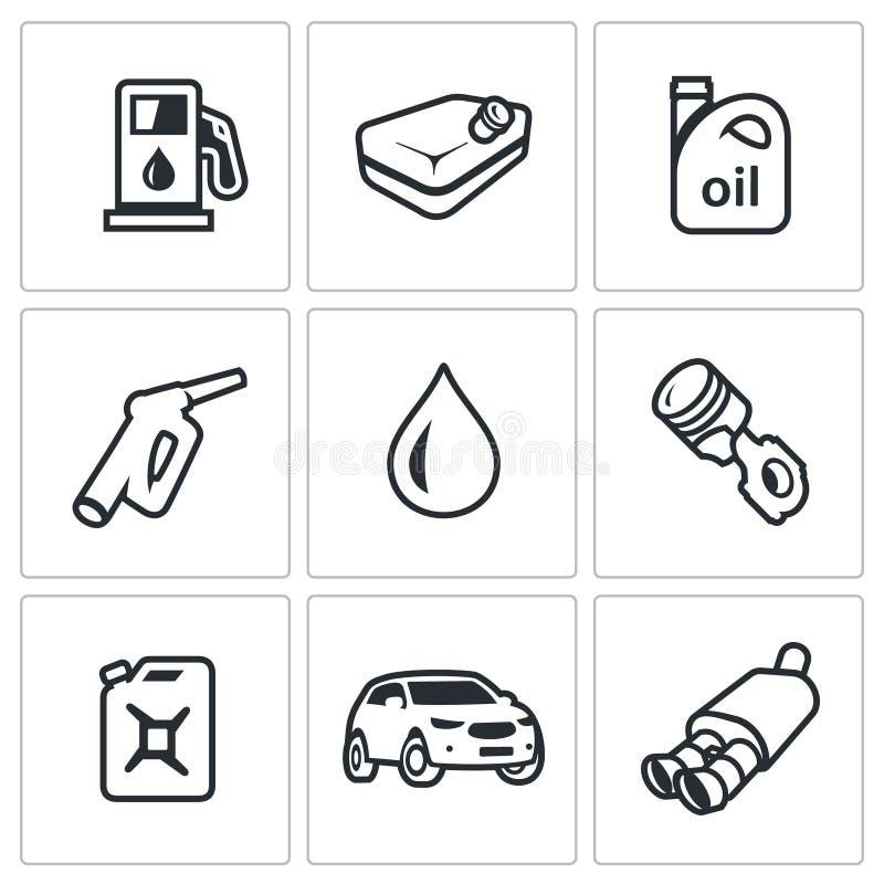 Vektor-Satz Brennstoff-Ikonen Tankstelle, Benzinbehälter, Maschinenöl, füllende Pistole, Kolbentriebwerk, Kanister, Auto lizenzfreie abbildung