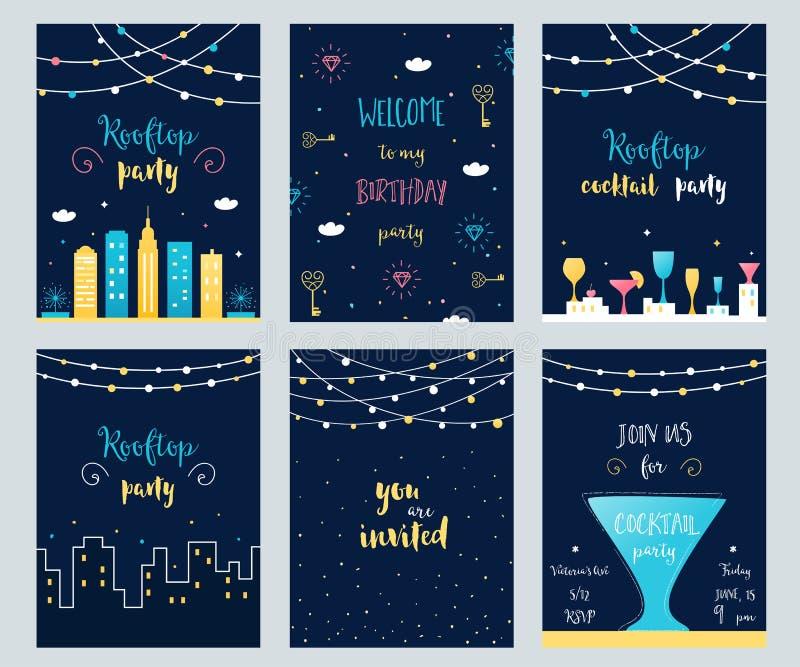 Vektor-Satz Dachspitzen-, Cocktail-und Geburtstagsfeier-Einladungs-Karten mit hellen Girlanden stock abbildung