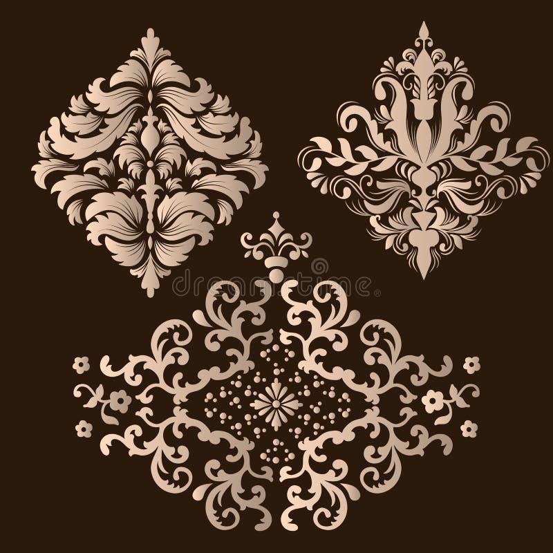 Vektor-Satz Damast Ornamental-Elemente Elegante abstrakte mit Blumenelemente für Design Vervollkommnen Sie für Einladungen, Karte stock abbildung