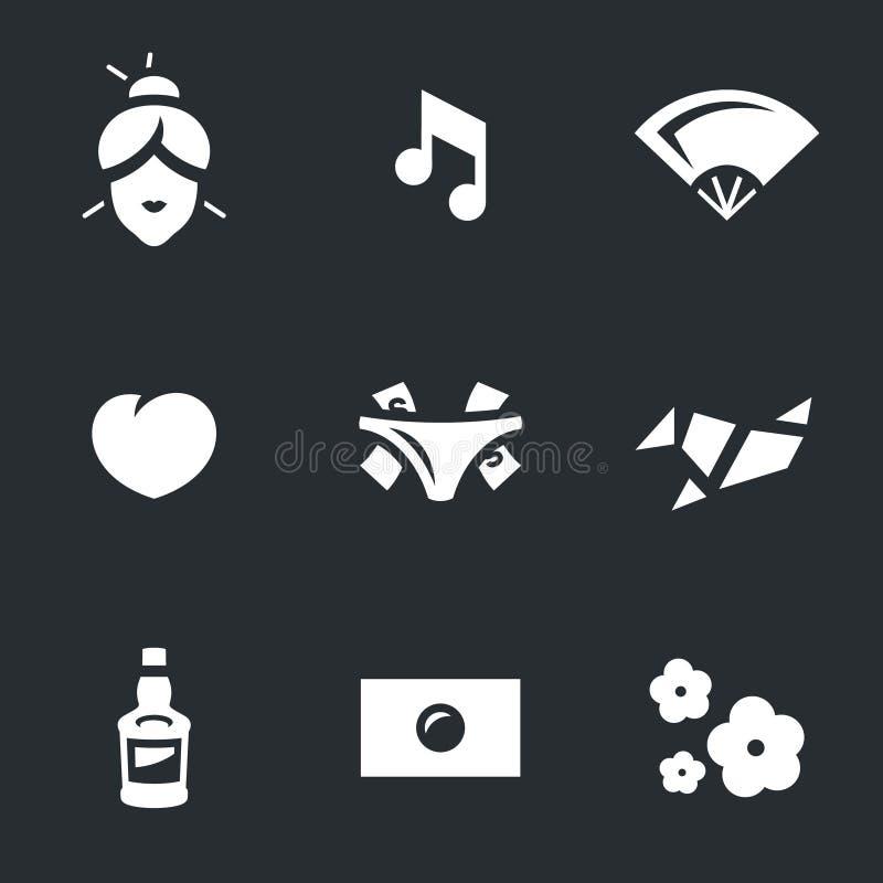 Vektor-Satz der japanischen Geisha Icons stock abbildung