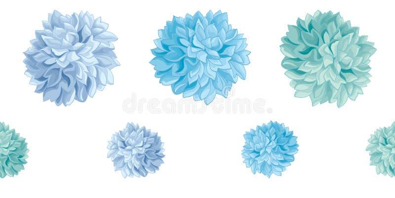 Vektor-Satz des blauen Baby-Geburtstagsfeier-Papier-Pom Poms Set Horizontal Seamless-Wiederholungs-Grenzmusters Groß für lizenzfreie abbildung