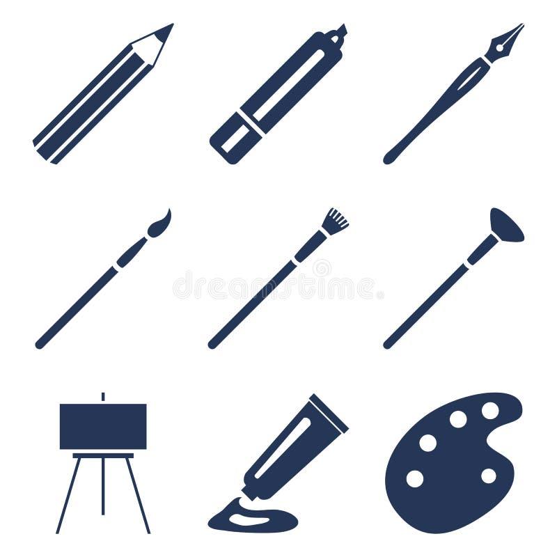 Vektor-Satz des Schattenbildes Art Icons Malerei-und Schreibens-Werkzeuge vektor abbildung