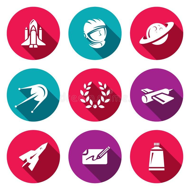 Vektor-Satz ein Raum-Flug-Ikonen Spaceport, Ausstattung, Planet, Forschung, Ruhm, Technologie, Fliegen, Autogramm, Lebensmittel stock abbildung
