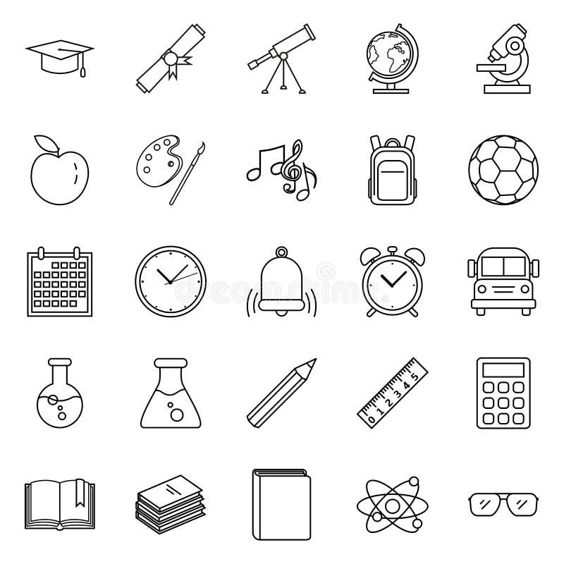 Vektor-Satz Entwurfs-Bildungs-Symbole Zurück zu Schule-Ikonen lizenzfreie abbildung