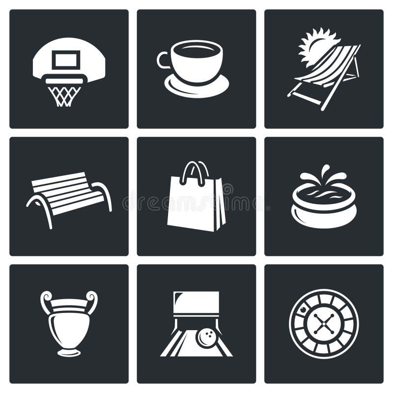 Vektor-Satz Erholungs-und Unterhaltungs-Ikonen Sport, Lebensmittel, Tourismus, Spaziergang, Einkaufen, Park, Kunst, Bowlingspiel, vektor abbildung