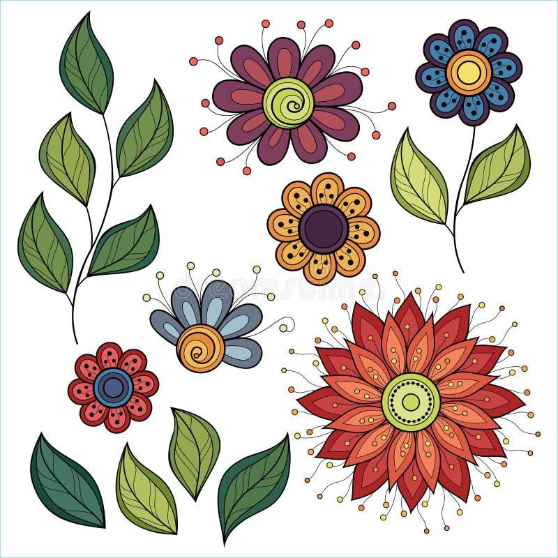 Vektor-Satz Farbige Konturn-Blumen Und Blätter Vektor Abbildung ...