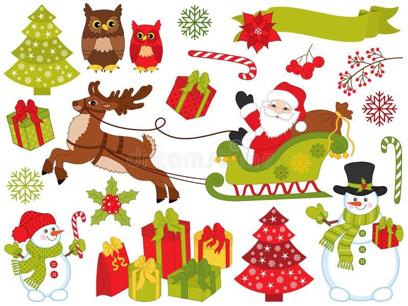 Vektor-Satz festliche Elemente Santa Clauss und des Weihnachten lizenzfreie abbildung