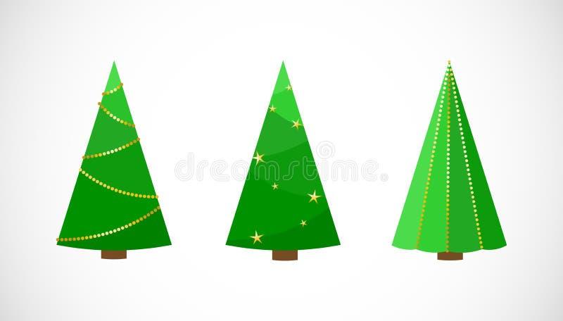 Vektor-Satz festliche Weihnachtsbäume in der flachen Art lizenzfreie abbildung