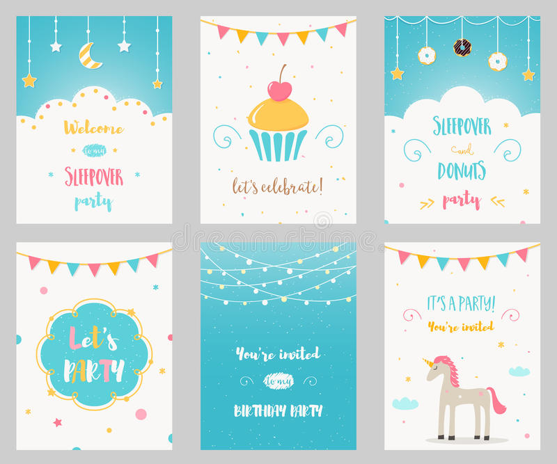 Vektor-Satz Geburtstags-und Sleepover-Kinderpartei-Einladungen lizenzfreie abbildung