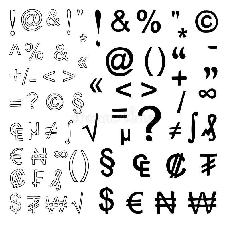 Vektor Satz Hand gezeichnete Zeichen lokalisiert auf Weiß getrennt auf weißem Hintergrund Schwarzes auf Weiß lizenzfreie abbildung