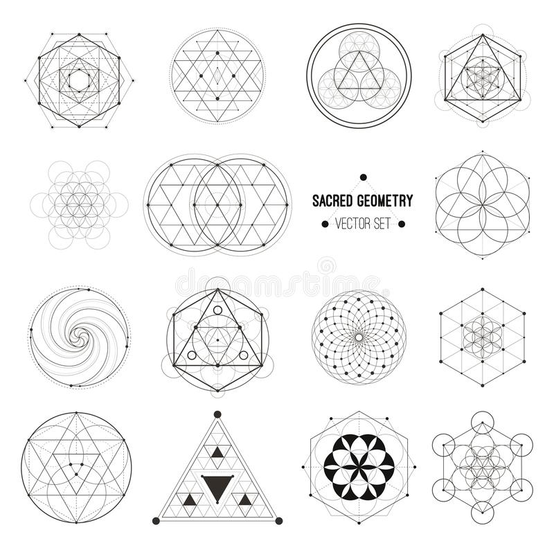 Vektor-Satz heilige Geometrie-Symbole lizenzfreie abbildung