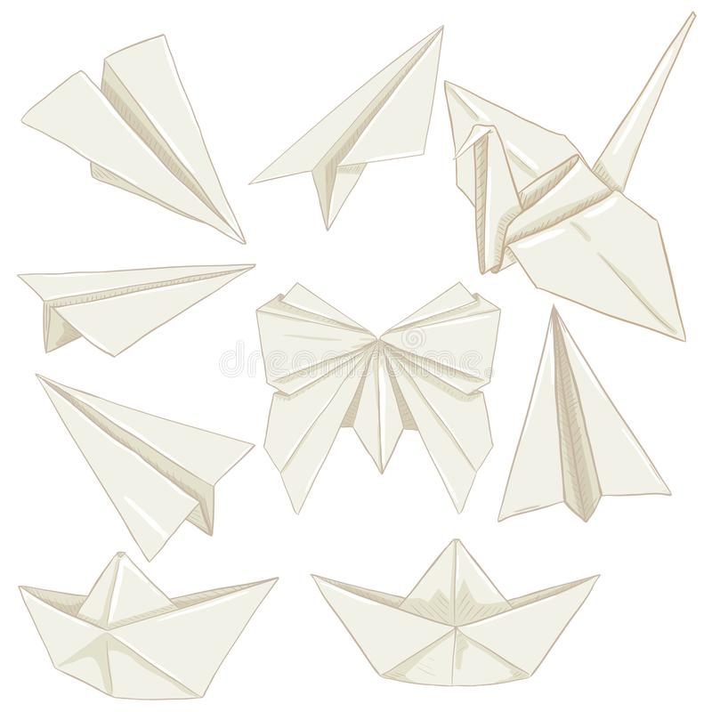 Vektor-Satz Karikatur-Origami-Papiergegenstände Flächen, Boote, Schmetterling und Kran vektor abbildung