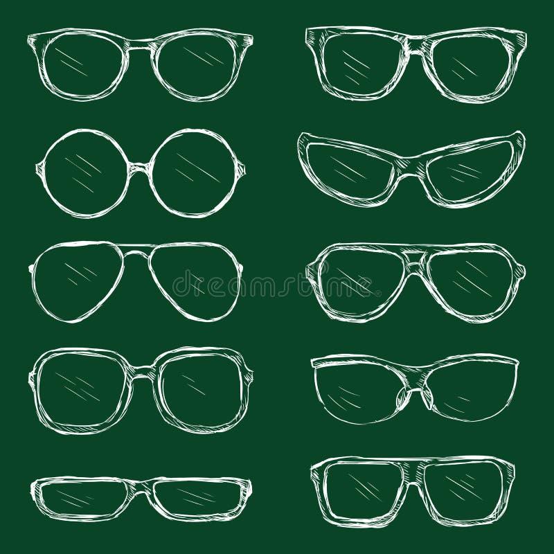 Vektor-Satz Kreide-Brillen-Rahmen lizenzfreie abbildung