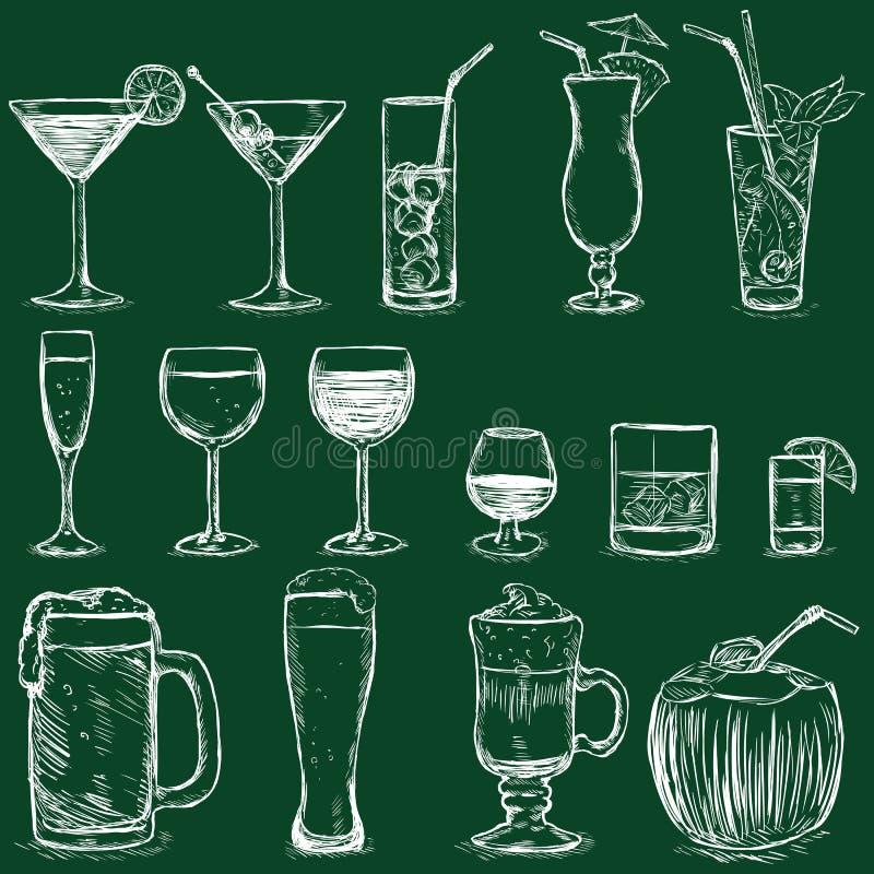 Vektor-Satz Kreide-Cocktails und Alkohol-Getränke vektor abbildung