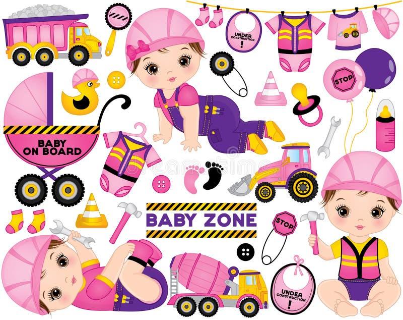 Vektor-Satz mit den netten kleinen Babys gekleidet als kleine Erbauer und Bau-Transport vektor abbildung