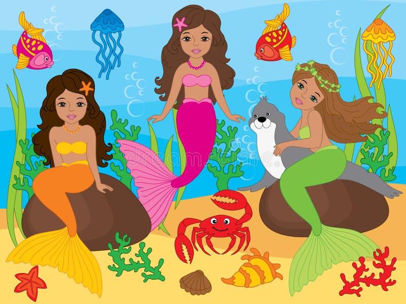 Vektor-Satz schöne Afroamerikaner-Meerjungfrauen und Seeleben-Elemente lizenzfreie abbildung