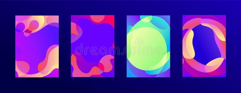Vektor-Satz Schieberschablonen von flüssigen organischen Formen mit Plastiklinien, flüssiger Effekthintergrund der Formen Textpla stock abbildung