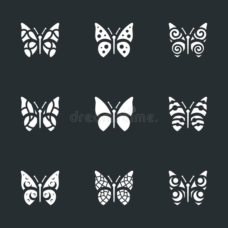 Vektor-Satz Schmetterlings-Ikonen lizenzfreie abbildung