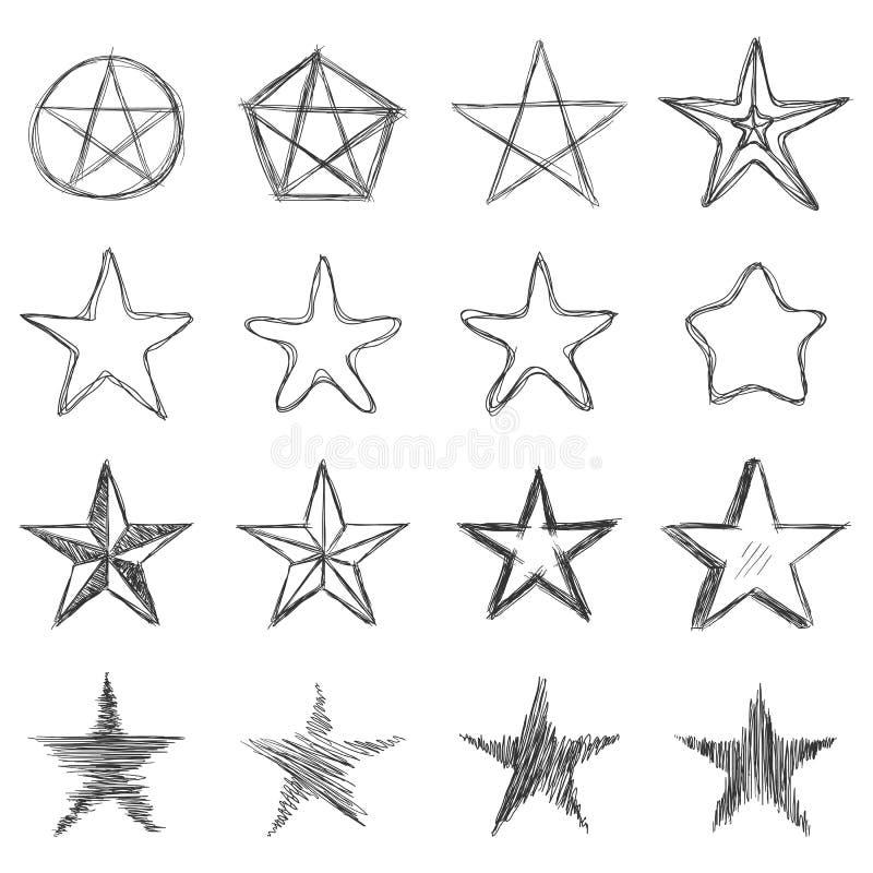 Vektor-Satz schmutzige Skizzen-Sterne vektor abbildung