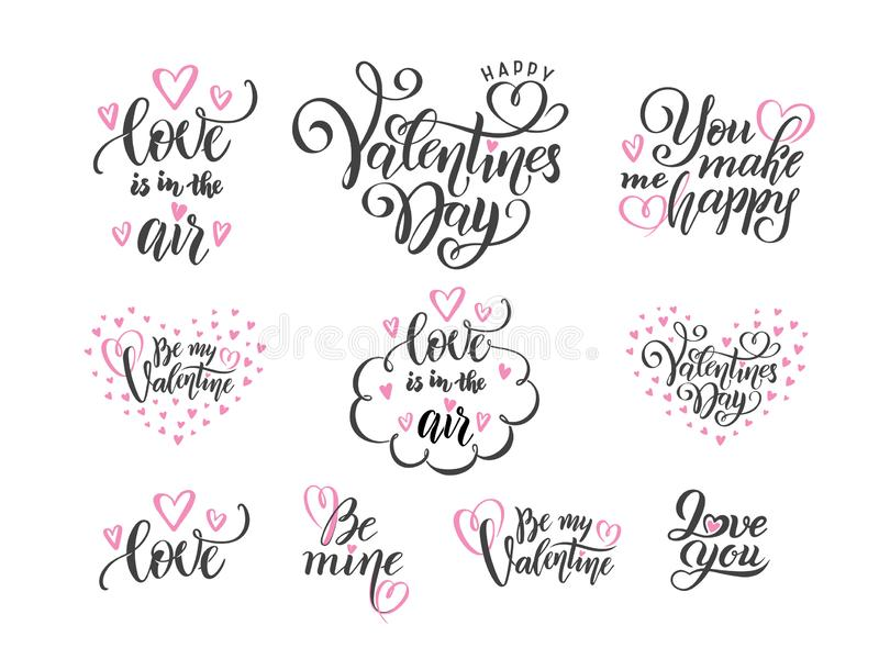 Vektor-Satz schwarze Handbeschriftungsliebes-Phrasenzitate zum Valentinsgrußtag, Liebeskonzept, Heiratsentwurfsschablone, Herzen stock abbildung