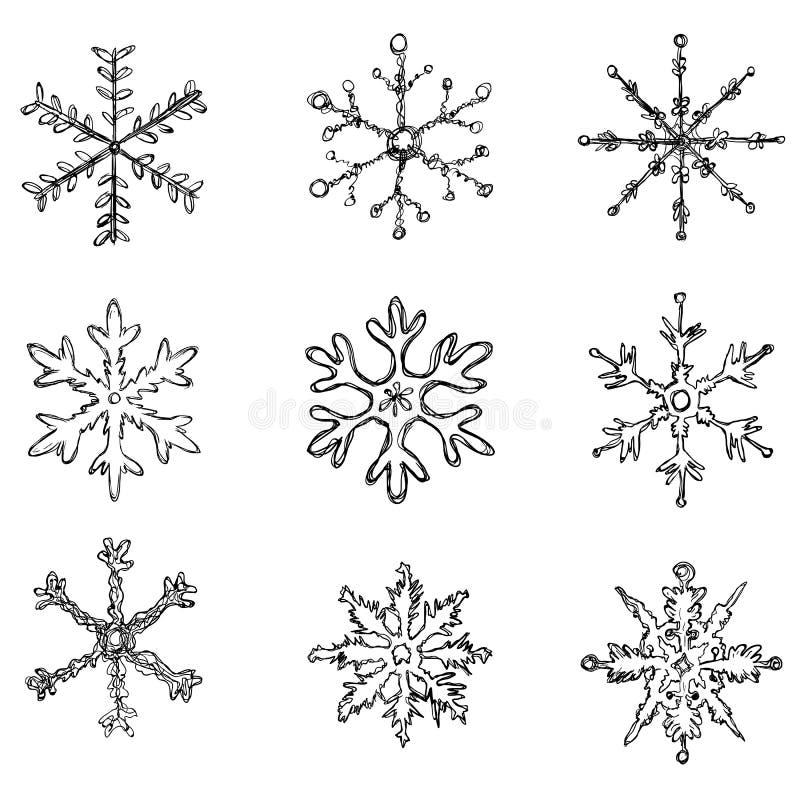 Vektor-Satz schwarze Skizzen-Schneeflocken auf weißem Hintergrund vektor abbildung