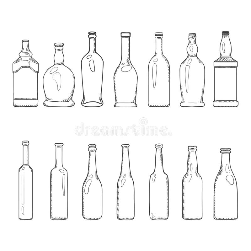 Vektor-Satz Skizzen-leere Glasflaschen-Illustrationen lizenzfreie abbildung